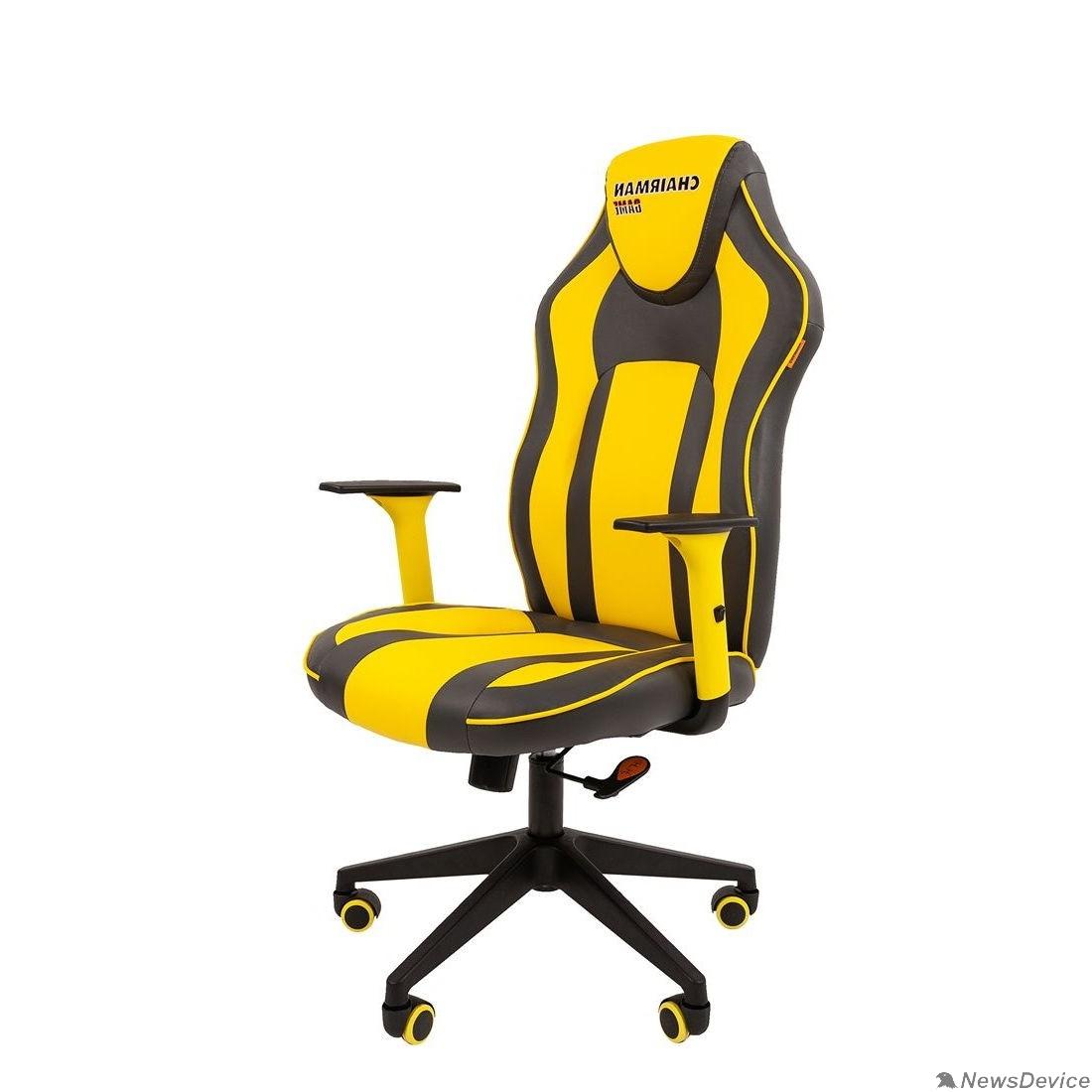 Офисные кресла Кресло Chairman  game 23 Россия экопремиум серый/желтый (7053958)