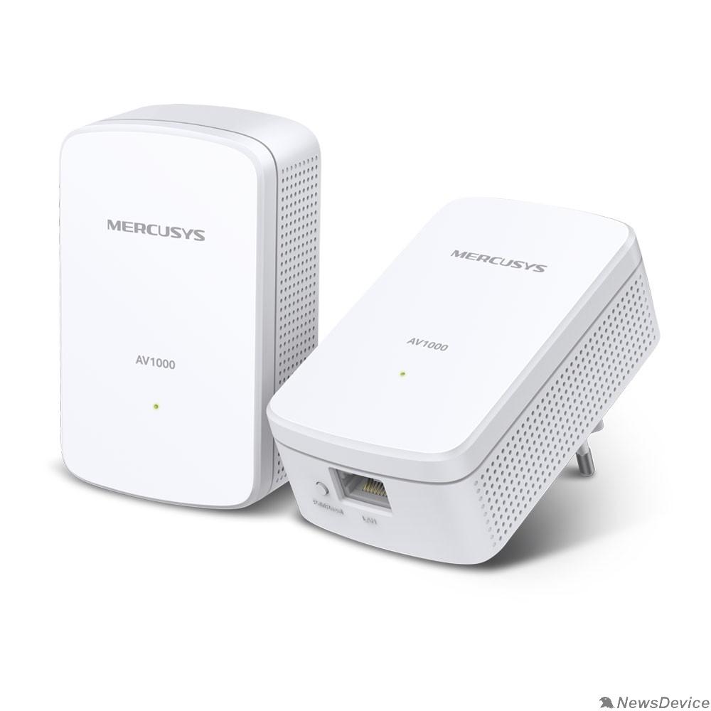 Mercusys Mercusys MP500 KIT AV1000 Комплект гигабитных адаптеров Powerline, стандарт HomePlug AV2, 1 гигабитный порт, до 300 м по электросети, Plug and Play