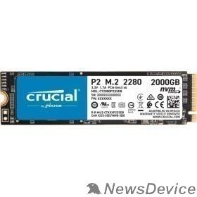 накопитель Crucial SSD 2000GB P2 M.2 NVMe PCIEx4 80mm Micron 3D NAND  2300/1150 MB/s CT2000P2SSD8