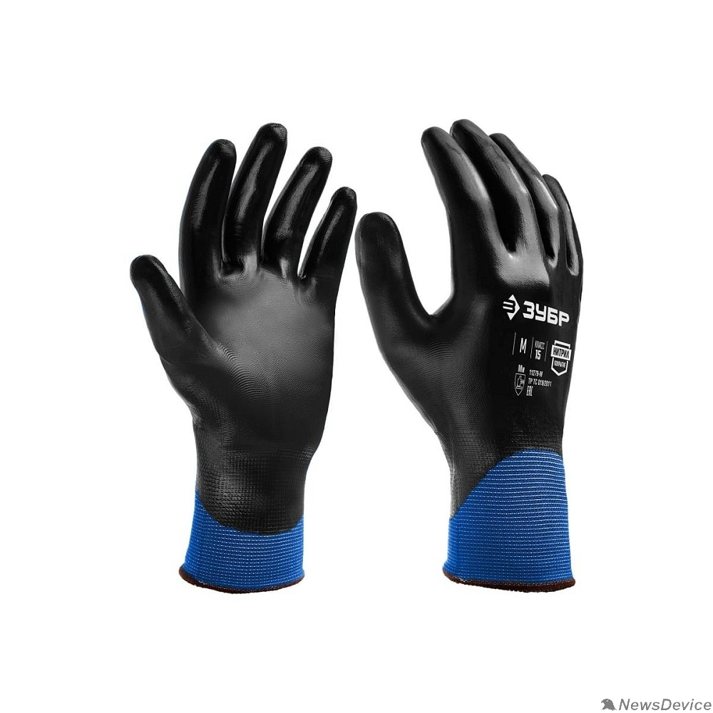 Перчатки ЗУБР МЕХАНИК+  размер M, полный облив, перчатки маслобензостойкие тонкие 11279-M