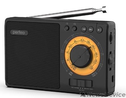 Радиоприемник Perfeo радиоприемник аналоговый,всеволновый ЗАРЯ/ MP3/ питание 18650/черный(i10BK) PF_C3279