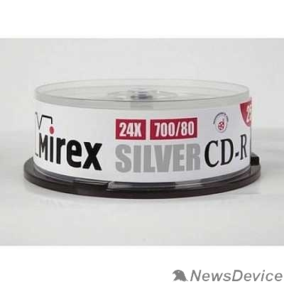 Диск Mirex Диск CD-R 700 Mb, 24х, Silver, Cake Box (25), (25/300)