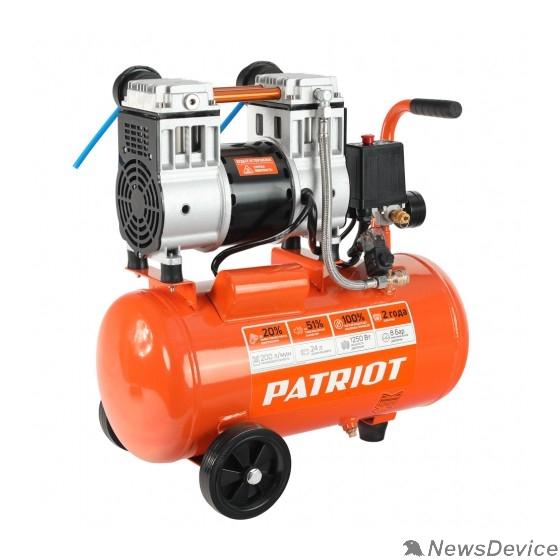 """Компрессоры, Пневматическое оборудование PATRIOT  WO 24-220 Компрессор 525301920  безмасляный, 200 л/мин, 8 бар, 1250 Вт, 24 л, быстросъемный 1/4"""""""
