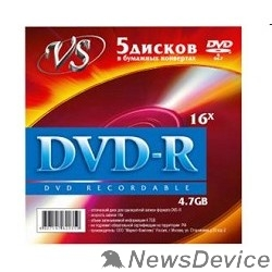 Диск Диски VS DVD-R 4.7Gb, 16x (конверт 5шт.)
