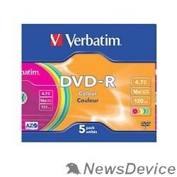Диск Verbatim  Диски DVD-R Verbatim 16-x, 4.7 Gb (Color, Slim Case, 5 шт) (43557)