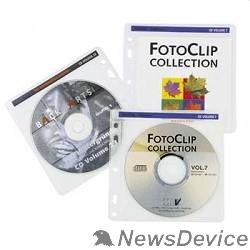 Конверт HAMA Конверты для 2 CD/DVD, с перфорацией для портмоне с кольцами, 100шт (белый/прозрачный) H62611