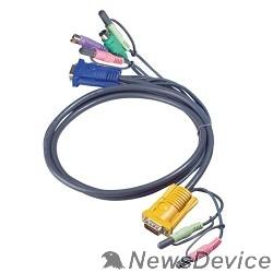 Переключатель ATEN 2L-5302P Кабель KVM  PS/2(Kлав+мышь)1.8м., черный.