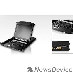 Переключатель ATEN CL5708M(R)-AT(A)-RG KVM Переключатель 8-ми портовый,19'', с 17'' LCD монитором 1280x1024 и клавиатурой, 2 пользователя, с KVM-шнурами PS2 1х1.8м.;USB 1x1.8м., исп.спец.шнуры, OSD каскад 256