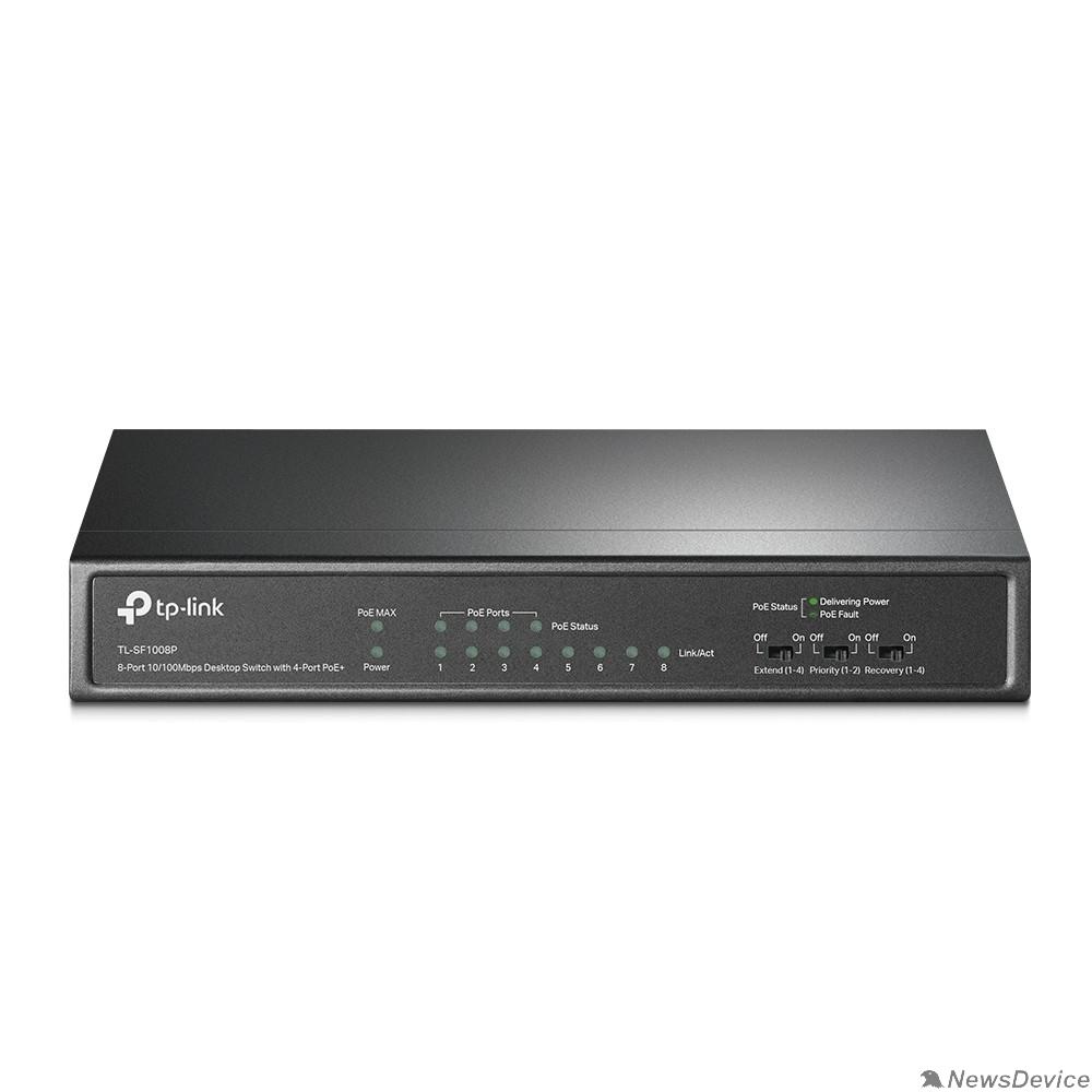 Сетевое оборудование TP-Link TL-SF1008P 8-портовый настольный 10/100 Мбит/с коммутатор с 4 портами PoE+