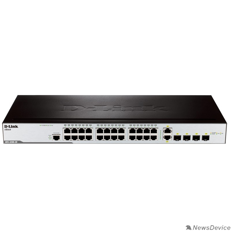 Сетевое оборудование D-Link DES-3200-28/C1A Управляемый коммутатор 2 уровня с 24 портами 10/100BASE-T + 2 комбо-портами 1000Base-T/SFP