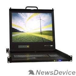 консоли ProCase UNIUS 19/E/RU Консоль модульная однорельсовая 19'', single rail console, LCD D-Sub,  PS/2 и USB, разрешение 1280*1024, USB hub, возможность установки модуля KVM, IP
